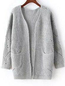 Long Sleeve Chunky Knit Pockets Grey Cardigan