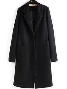 Lapel Long Sleeve Woolen Coat