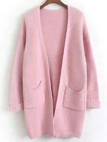 Long Sleeve Open Front Pockets Coat
