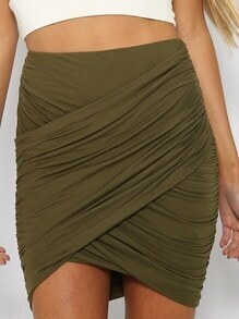 Army Green Ruched Bodycon Skirt