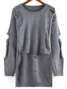 Dip Hem Ripped Grey Sweater