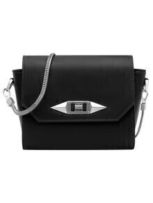 Black Twist Lock Metallic Embellished Chain Shoulder Bag
