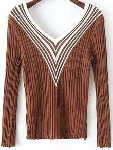 V Neck Chevron Print Coffee Sweater