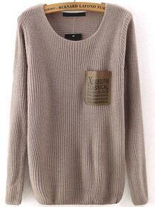 Letter Print Pocket Brown Sweater