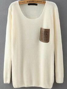 Letter Print Pocket White Sweater