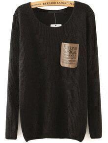 Letter Print Pocket Black Sweater