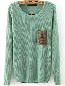 Letter Print Pocket Green Sweater