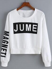 Round Neck Letter Print Crop Sweatshirt