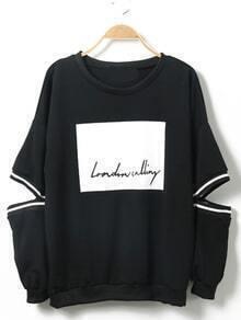 Letter Print Cutout Black Sweatshirt