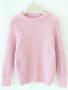 Long Sleeve Loose Pink Sweater