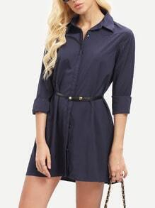 Navy Long Sleeve Lapel Dress