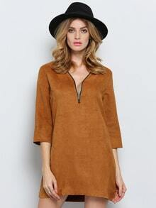 Brown Half Sleeve V Neck Zipper Dress