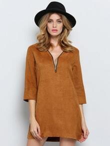 Brown Half Sleeve V Neck Zipper Dress