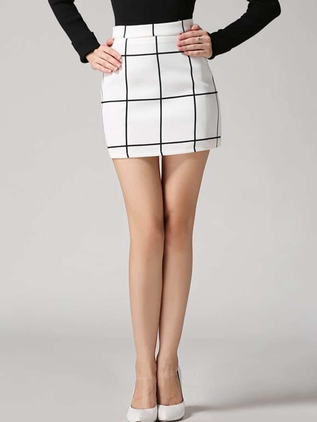 蘇格蘭格紋 緊身 白色 裙子