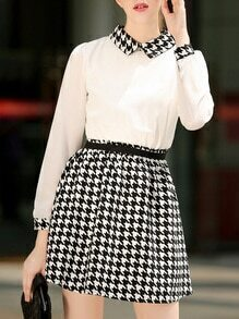 Doll Collar Long Sleeve Houndstooth Dress