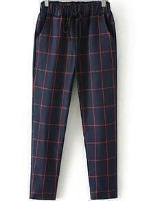 Elastic Waist Drawstring Plaid Navy Pant