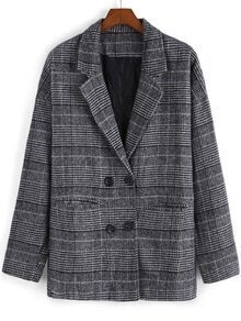 Lapel Plaid Double Breasted Coat