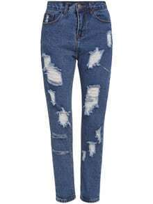 Ripped Denim Blue Pant