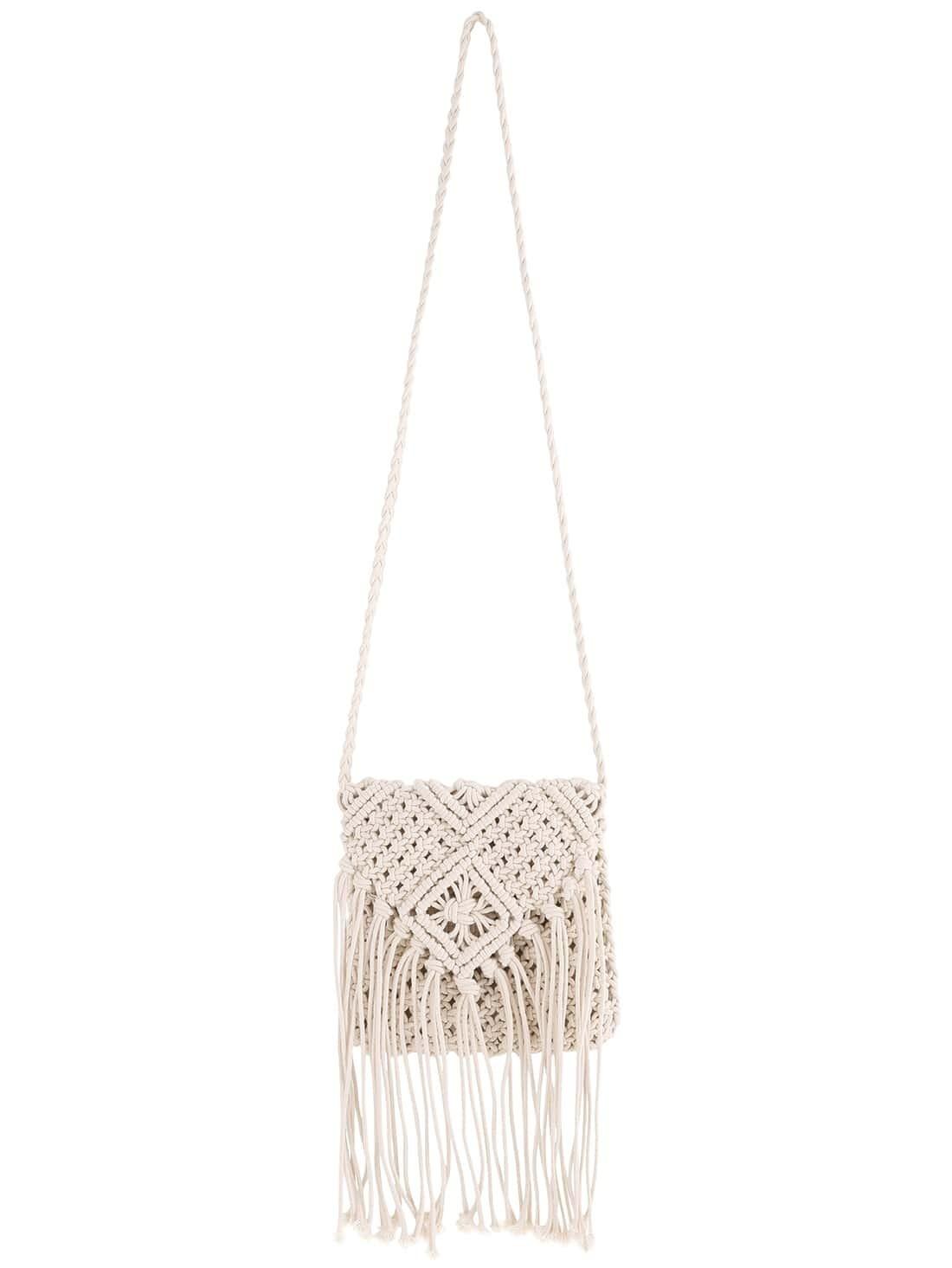 Crochet Tassel Bag : location home handbags shoulder bags white crochet tassel shoulder bag