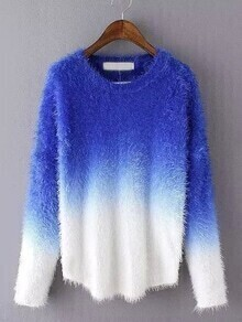 Dip Hem Fuzzy Ombre Sweater
