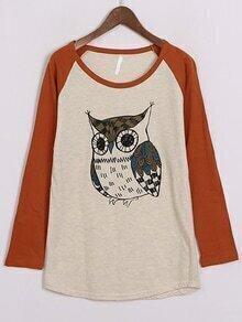 Long Sleeve Owl Print T-shirt