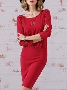 Rose Red Half Sleeve V Back Dress