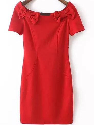 Boat Neck Short Sleeve Bow Red Dress - $15.00