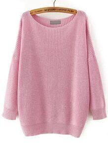 Scoop Neck Long Sleeve Loose Pink Sweater