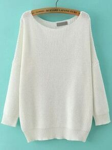 Scoop Neck Long Sleeve Loose White Sweater