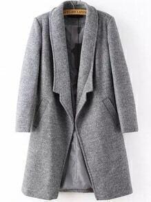 Lapel Long Sleeve Woolen Grey Coat