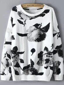 Round Neck Flower Print Sweatshirt