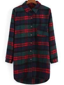Lapel Plaid Dip Hem Woolen Coat