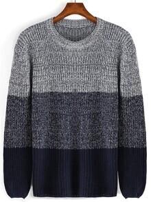 Color-block Round Neck Sweater