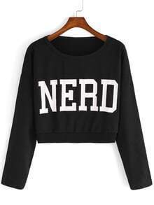 Letter Print Crop Black Sweatshirt