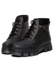 Black Lace Up Zipper Back Boots