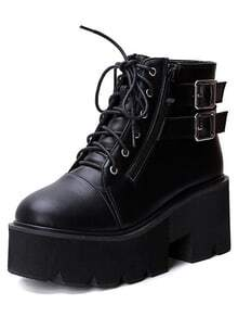 Black Lace Up Buckle Strap Zipper Wedges Boots