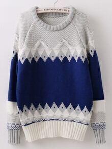 Geometric Print Blue Sweater