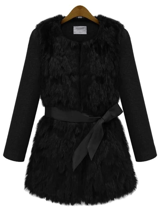 Contrast Faux Fur Belt Coat