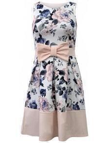 Sleeveless Florals Bow Dress