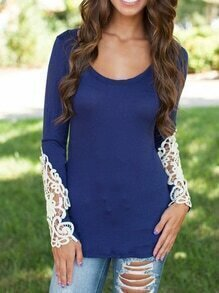 Contrast Lace Long Sleeve Slim Navy Blouse
