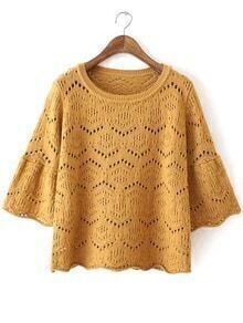 Bell Sleeve Hollow Khaki Sweater