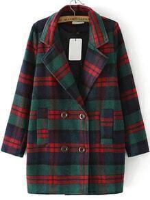 Lapel Plaid Double Breasted Woolen Coat
