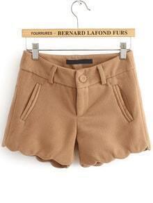 Woolen Bottom Wave Khaki Shorts