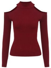 Mock Neck Open Shoulder Wine Red Sweater