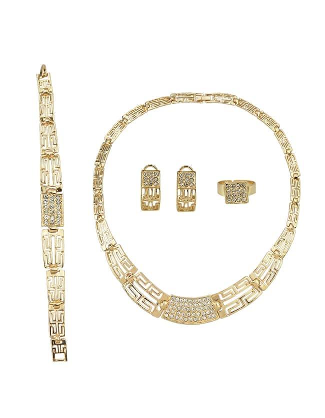 Gold Plated Rhinestone Maze Shape Necklace Earrings Bracelet Rings Jewelry Set for Women - $7.69