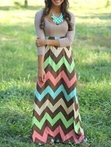 vestido maxi zigzag cuello cuadrado bicolor