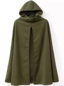 Hooded Slit Woolen Cape Coat