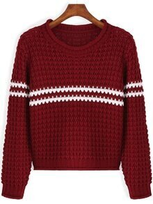 Striped Open-Knit Red Sweater