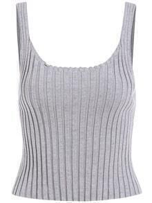 Straps Knit Grey Cami Top