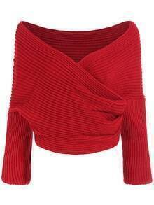 Boat Neck Wraped Red Sweater